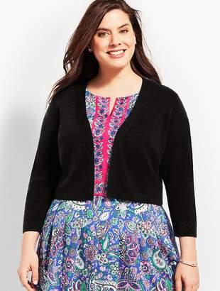 Talbots Womans Exclusive Three-Quarter-Sleeve Back Peplum Knit Shrug