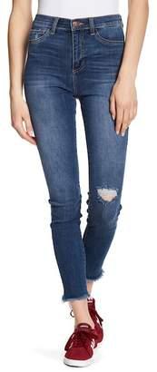SP Black High Waist Fray Hem Destructed Skinny Jeans