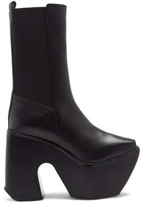 Marques Almeida Marques'almeida - Open Toe Leather Platform Boots - Womens - Black
