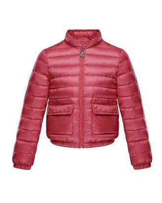Moncler Lans Flap-Pocket Lightweight Down Puffer Jacket, Dark Pink, Size 4-6