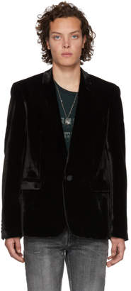 Saint Laurent Black Crinkle Velvet Blazer