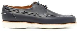John Lobb Isle Leather Boat Shoes - Mens - Blue