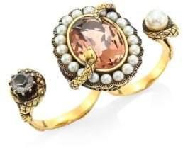 Alexander McQueen Swarovski Stone& Crystal Snake Double Ring