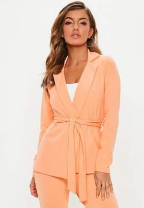 Missguided Peach Tie Side Jersey Blazer