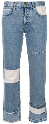 Current/Elliott cropped patchwork jeans