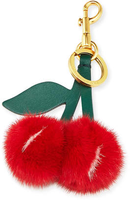 Anya Hindmarch Mink Fur Cherry Key Chain/Bag Charm, Red