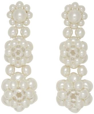 Simone Rocha White Three Tier Earrings