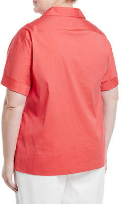 Lafayette 148 New York Plus Damon Collared Short Sleeve Blouse, Plus Size