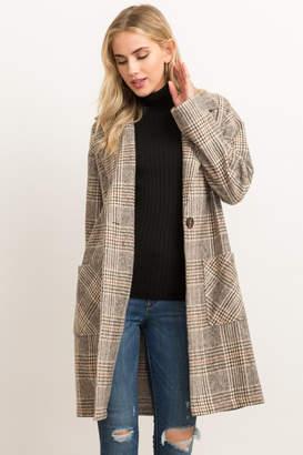 Hem & Thread Oversized Plaid Duster Coat