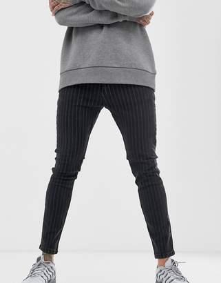 Bershka skinny jeans with pinstripe in black