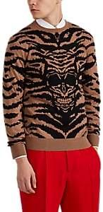 Alexander McQueen Men's Skull Tiger-Striped Wool Sweater - Camel