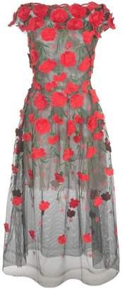 Oscar de la Renta floral appliqué tulle dress