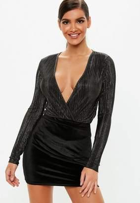 Missguided Black Velvet Mini Skirt