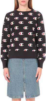 CHAMPION Repeating logo-embroidered jersey sweatshirt $74 thestylecure.com
