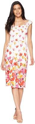 Maggy London Tulip Border Printed Cotton Sheath Dress Women's Dress