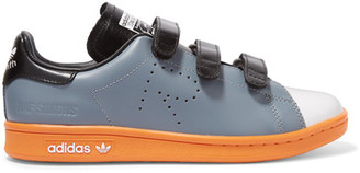 Adidas Originals - + Raf Simons Stan Smith Comfort Perforated Leather Sneakers - Gray $415 thestylecure.com