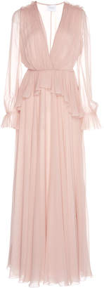 Giambattista Valli Peplum Waist Silk Dress