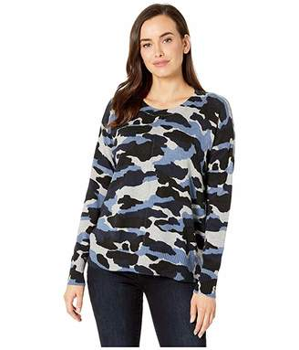 Elliott Lauren Blue on Blue Camo Printed Crew Neck Sweater