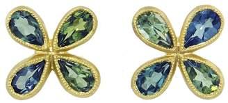 Cathy Waterman Green Tourmaline Star Stud Earrings