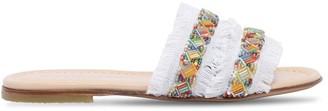 Ermanno Scervino Embellished Denim Slide Sandals