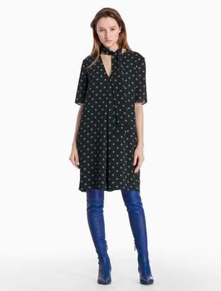 Calvin Klein dot v-neck short sleeve dress