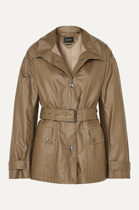 Isabel Marant Belted Coated Cotton-canvas Jacket - Army green