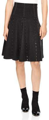 Sandro Luc Embellished A-Line Eyelet Skirt