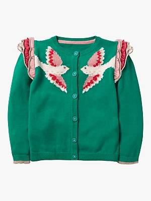 Boden Mini Girls' Fun Frill Bird Cardigan, Asparagus Green