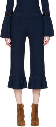 3.1 Phillip Lim Navy Pleated Cropped Trousers