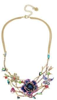 Betsey Johnson Blooming Crystal Floral Open Work Necklace