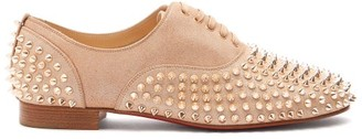 Christian Louboutin Freddy Studded Lame Loafers - Womens - Nude Gold