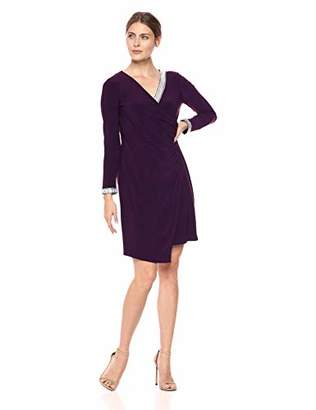 MSK Women's Surplice Dress with Rhinestone Neck and Cuff Trim Details