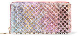 Christian Louboutin Panettone Spiked Metallic Suede Continental Wallet - Pink