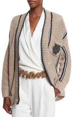 Brunello Cucinelli Nubby Wool-Blend Boyfriend Cardigan, Beige $2,475 thestylecure.com