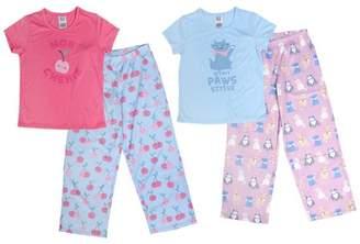 Toast & Jammies Girls 2 Pack Short Sleeve Top and Pant PJ Set