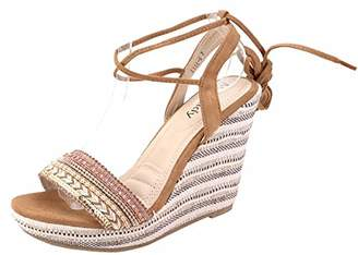 Mila Louise Lady Platform Ankle-Wrap Wedge Sandal (Lisa-6)