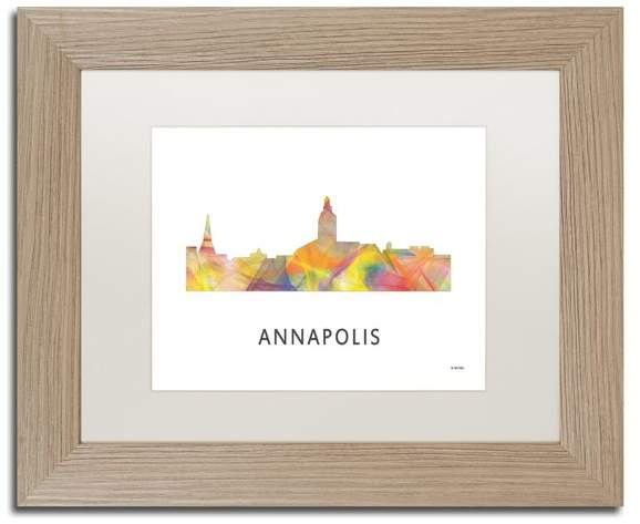 Trademark Fine Art 'Annapolis Maryland Skyline Wb 1' Framed Art, Birch Frame, White Matte