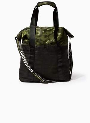 Topman Mens Green Camouflage Text Webbing Tote Bag