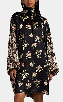 R 13 Women's Floral- & Leopard-Print Silk Satin Dress - Black