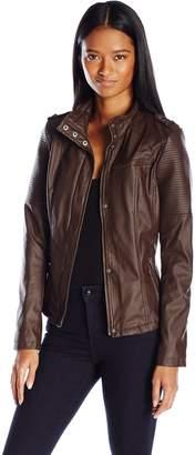 Celebrity Pink CelebrityPink Women's Vegan Leather Moto Jacket with Shoulder Detailing