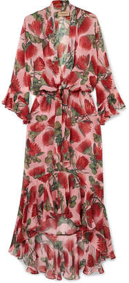Adriana Degreas - Fiore Ruffled Tie-detailed Floral-print Silk-chiffon Dress - Blush