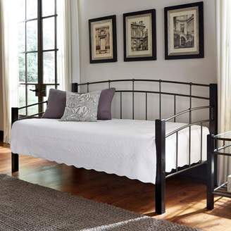 Rails Leggett & Platt Scottsdale Metal Daybed with Dark Espresso Wooden Posts and Sloping Back and Side Panel Rails, Black Speckle Finish, Twin