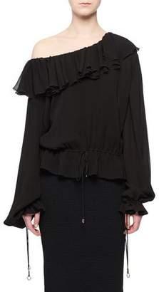Altuzarra Jong Ruffle One-Shoulder Long-Sleeves Blouson Peasant Blouse