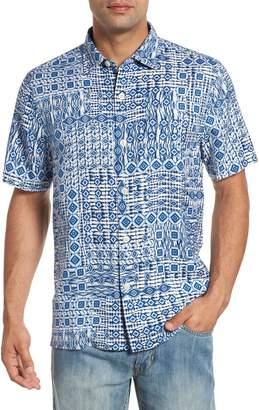 Tommy Bahama Tile Traveler Regular Fit Silk Camp Shirt
