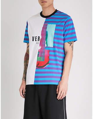 Versace Versus Contrasting striped cotton-jersey T-shirt