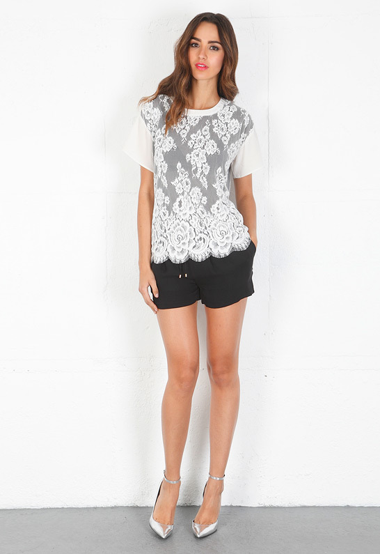 Pencey Blur Overlay Lace Tee in White