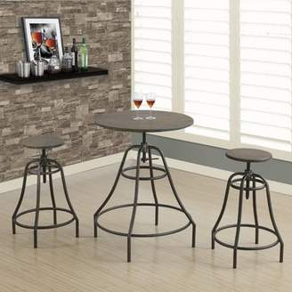 Monarch Specialties Monarch Dining Set 3Pcs Set / Distressed Brown / Bronze Metal