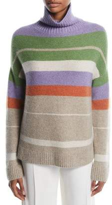 Loro Piana Darlington Turtleneck Striped Cashmere Knit Sweater