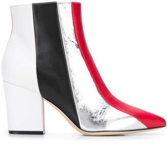 Sergio Rossi 80mm pointed colour block boots