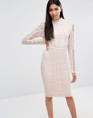 Missguided Lace Long Sleeve High Neck Midi Dress $85 thestylecure.com